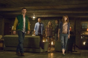 From left to right: Curt (Chris Hemsworth), Holden (Jesse Williams), Jules (Anna Hutchison), Marty (Fran Kranz) and Dana (Kristen Connolly) in THE CABIN IN THE WOODS.