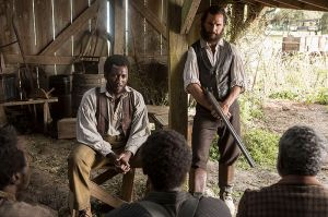 In a barn with the freedmen, Newt (Matthew McConaughey tells Moses (Mahershala Ali) there's a new president now.